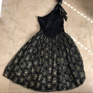 AWESOME 80's Prom Dress Vintage Gown One Shoulder